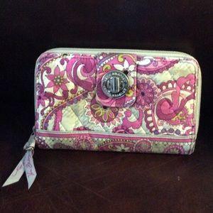 Vera Bradley turn lock zip around wallet